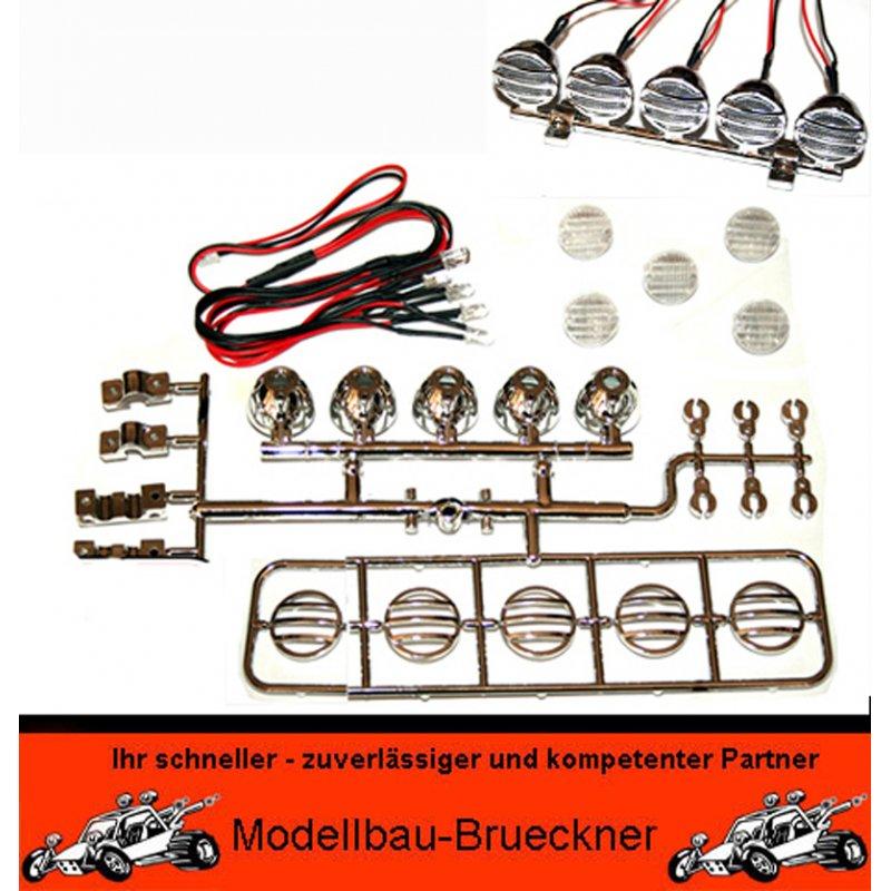LED Lichtleiste Roof light chrom RC-Car JR Stecker 6 - 9 Volt 1:10 1: